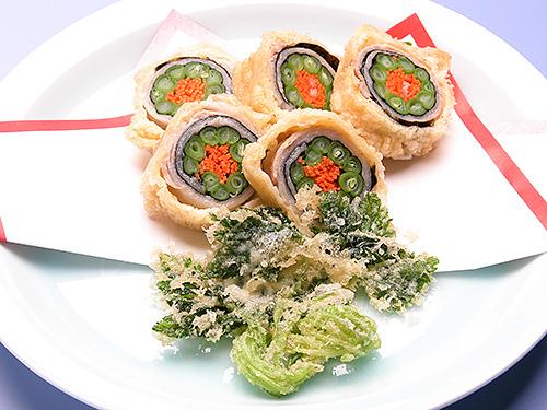 三度豆と豚肉の天ぷら