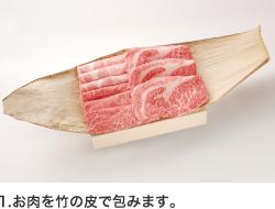 1.お肉を竹の皮で包みます。